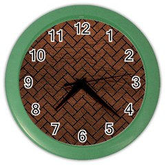 Brick2 Black Marble & Dull Brown Leather Color Wall Clocks by trendistuff