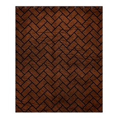 Brick2 Black Marble & Dull Brown Leather Shower Curtain 60  X 72  (medium)  by trendistuff