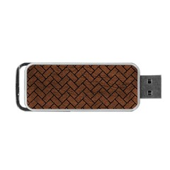 Brick2 Black Marble & Dull Brown Leather Portable Usb Flash (two Sides) by trendistuff