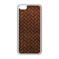Brick2 Black Marble & Dull Brown Leather Apple Iphone 5c Seamless Case (white) by trendistuff