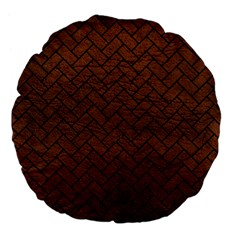 Brick2 Black Marble & Dull Brown Leather Large 18  Premium Flano Round Cushions by trendistuff