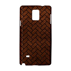 Brick2 Black Marble & Dull Brown Leather Samsung Galaxy Note 4 Hardshell Case by trendistuff