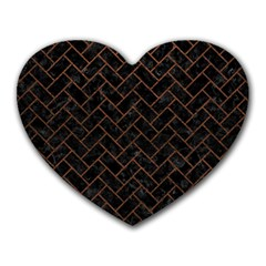 Brick2 Black Marble & Dull Brown Leather (r) Heart Mousepads by trendistuff