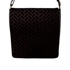 Brick2 Black Marble & Dull Brown Leather (r) Flap Messenger Bag (l)  by trendistuff