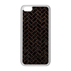 Brick2 Black Marble & Dull Brown Leather (r) Apple Iphone 5c Seamless Case (white) by trendistuff