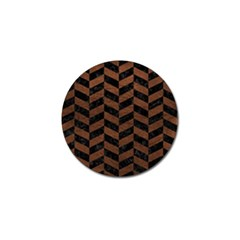 Chevron1 Black Marble & Dull Brown Leather Golf Ball Marker by trendistuff