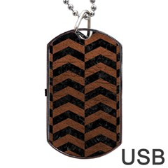 Chevron2 Black Marble & Dull Brown Leather Dog Tag Usb Flash (one Side) by trendistuff