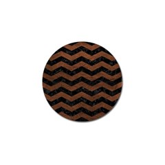 Chevron3 Black Marble & Dull Brown Leather Golf Ball Marker by trendistuff