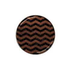 Chevron3 Black Marble & Dull Brown Leather Hat Clip Ball Marker (10 Pack) by trendistuff