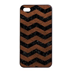 Chevron3 Black Marble & Dull Brown Leather Apple Iphone 4/4s Seamless Case (black) by trendistuff