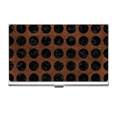 Circles1 Black Marble & Dull Brown Leather Business Card Holders by trendistuff