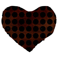 Circles1 Black Marble & Dull Brown Leather Large 19  Premium Heart Shape Cushions by trendistuff