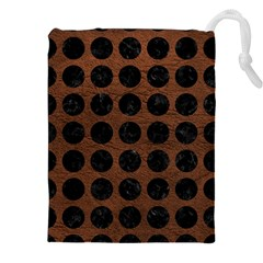 Circles1 Black Marble & Dull Brown Leather Drawstring Pouches (xxl) by trendistuff