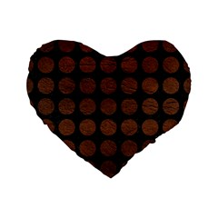 Circles1 Black Marble & Dull Brown Leather (r) Standard 16  Premium Flano Heart Shape Cushions by trendistuff