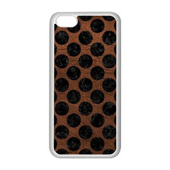 Circles2 Black Marble & Dull Brown Leather Apple Iphone 5c Seamless Case (white) by trendistuff
