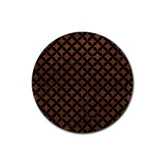 Circles3 Black Marble & Dull Brown Leather Rubber Round Coaster (4 Pack)  by trendistuff