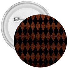 Diamond1 Black Marble & Dull Brown Leather 3  Buttons by trendistuff