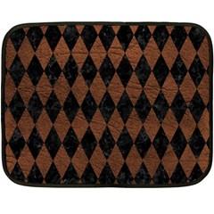 Diamond1 Black Marble & Dull Brown Leather Double Sided Fleece Blanket (mini)  by trendistuff