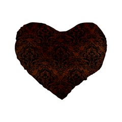 Damask1 Black Marble & Dull Brown Leather Standard 16  Premium Flano Heart Shape Cushions by trendistuff