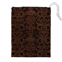Damask2 Black Marble & Dull Brown Leather (r) Drawstring Pouches (xxl) by trendistuff