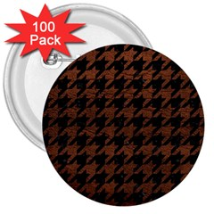 Houndstooth1 Black Marble & Dull Brown Leather 3  Buttons (100 Pack)  by trendistuff