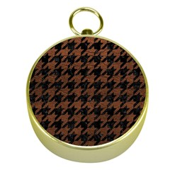 Houndstooth1 Black Marble & Dull Brown Leather Gold Compasses by trendistuff