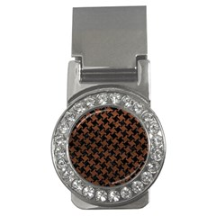 Houndstooth2 Black Marble & Dull Brown Leather Money Clips (cz)  by trendistuff