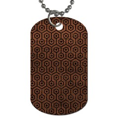 Hexagon1 Black Marble & Dull Brown Leather Dog Tag (one Side) by trendistuff