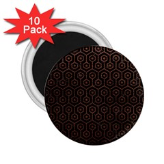 Hexagon1 Black Marble & Dull Brown Leather (r) 2 25  Magnets (10 Pack)  by trendistuff