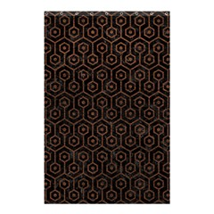 Hexagon1 Black Marble & Dull Brown Leather (r) Shower Curtain 48  X 72  (small)  by trendistuff