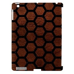 Hexagon2 Black Marble & Dull Brown Leather Apple Ipad 3/4 Hardshell Case (compatible With Smart Cover) by trendistuff