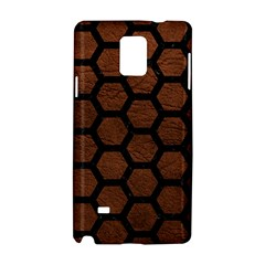 Hexagon2 Black Marble & Dull Brown Leather Samsung Galaxy Note 4 Hardshell Case by trendistuff