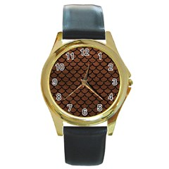 Scales1 Black Marble & Dull Brown Leather Round Gold Metal Watch by trendistuff