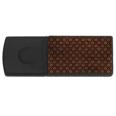 Scales2 Black Marble & Dull Brown Leather Rectangular Usb Flash Drive by trendistuff