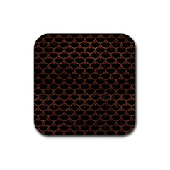 Scales3 Black Marble & Dull Brown Leather (r) Rubber Coaster (square)  by trendistuff