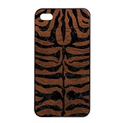 Skin2 Black Marble & Dull Brown Leather Apple Iphone 4/4s Seamless Case (black) by trendistuff