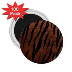 Skin3 Black Marble & Dull Brown Leather 2 25  Magnets (100 Pack)  by trendistuff