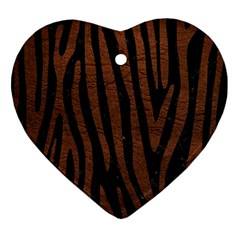 Skin4 Black Marble & Dull Brown Leather Ornament (heart) by trendistuff