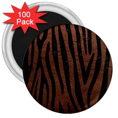 Skin4 Black Marble & Dull Brown Leather (r) 3  Magnets (100 Pack) by trendistuff
