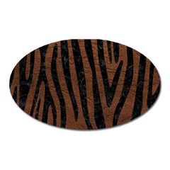 Skin4 Black Marble & Dull Brown Leather (r) Oval Magnet by trendistuff