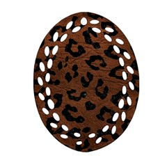 Skin5 Black Marble & Dull Brown Leather (r) Oval Filigree Ornament (two Sides) by trendistuff