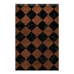 Square2 Black Marble & Dull Brown Leather Shower Curtain 48  X 72  (small)  by trendistuff