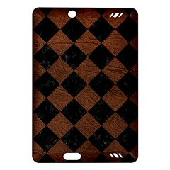 Square2 Black Marble & Dull Brown Leather Amazon Kindle Fire Hd (2013) Hardshell Case by trendistuff