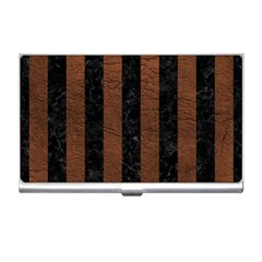 Stripes1 Black Marble & Dull Brown Leather Business Card Holders by trendistuff