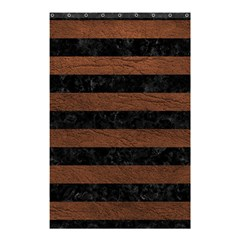 Stripes2 Black Marble & Dull Brown Leather Shower Curtain 48  X 72  (small)  by trendistuff