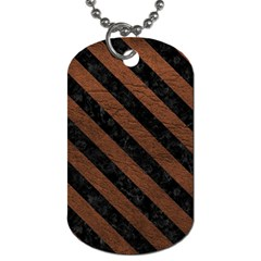 Stripes3 Black Marble & Dull Brown Leather Dog Tag (one Side) by trendistuff