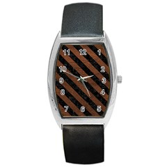 Stripes3 Black Marble & Dull Brown Leather Barrel Style Metal Watch by trendistuff
