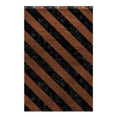 Stripes3 Black Marble & Dull Brown Leather Shower Curtain 48  X 72  (small)  by trendistuff