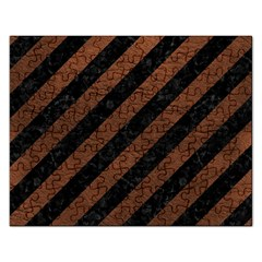 Stripes3 Black Marble & Dull Brown Leather (r) Rectangular Jigsaw Puzzl by trendistuff
