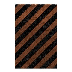 Stripes3 Black Marble & Dull Brown Leather (r) Shower Curtain 48  X 72  (small)  by trendistuff